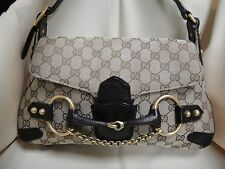 Authentic Gucci Monogram Jacquard Horsebit Shoulder Handbag with Chain Strap