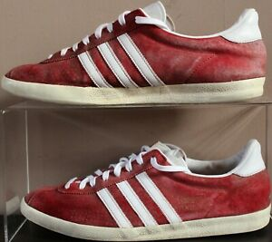 Adidas Gazelle OG Suede 2013 Lace Trainers - UK Size 10 - Dark Red & White Mens