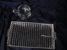 4 Sets (8 pcs) Vintage Hazel Atlas Orchard Crystal Ribbed Snack Tray MODEL 1305*