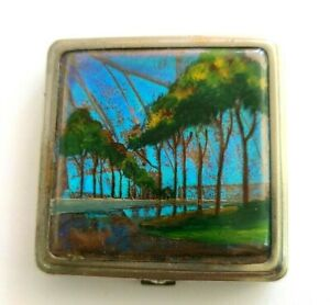 Vintage Made in France Silver Metal Small Powder Compact with Butterfly Wings.