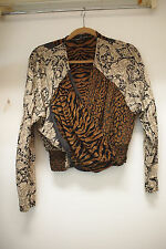Vintage Carole Little Mixed Print Cropped Top ,Dohlman Sleeves, size S/M