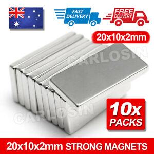 10pcs Super Strong Magnets Block Rare Earth Cuboid Neodymium 20mm × 10mm × 2mm