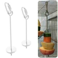 Stainless Steel Bird Parrot Cage Skewer Food Meat Stick Spear Fruit Holder Toy
