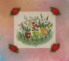 VINTAGE GARDEN POTTED FLOWER ROSES PLANTS DECO PRINT PASTEL ORIGINAL ART BORDER