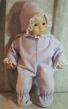 """Doll Clothes Baby Made2Fit American Girl 15"""" Bitty Footed Pajamas Lilac Bonnet"""