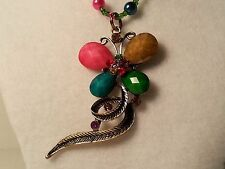 Green, Pink, & Brown Glass Bead Necklace w/Butterfly Pendant & Lobster Clasp