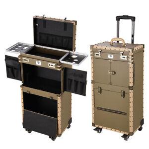 Bronze Rolling Hair Stylist Salon Makeup Cosmetic Case Artists Train Trimmer Box