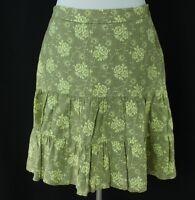 Gap Size 4 Linen Skirt Beige Light Green Floral Print Womens Peasant Boho