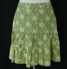 Gap Size 4 Linen Skirt Beige Light Green Floral Print Womens Peasant Boho