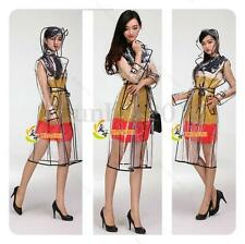 New Transparent Vinyl Raincoat Runway Style Womens Girls Clear Fashion Rain Coat