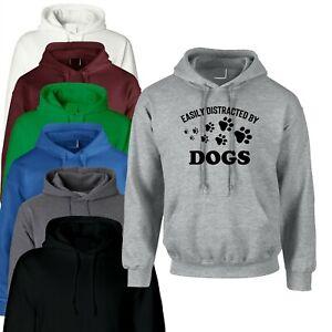 Easily Distracted by Dogs Funny Dogs Lover Hoodie Hoody Hood Gift Ladies Unisex