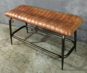 Genuine leather bench seat vintage industrial style