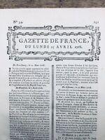 Rare Gazette de France 1768 Savigny Vosges Essonne Boston Etats Unis Varsovie
