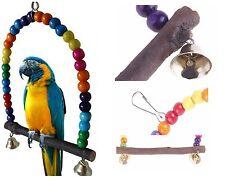 Balançoire perchoir jouet cage pour oiseau perruche, multicolore bois
