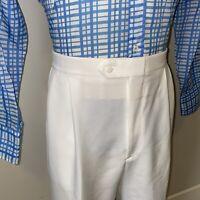 Vtg 60s 70s Mens 38 30 Sansabelt Pants Polyester Leisure Suit Slacks White Disco