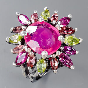 12x10mm Handmade Ruby Ring Silver 925 Sterling  Size 8.75 /R157636
