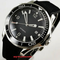 41mm sterile black dial luminous sapphire glass date automatic mens watch B344