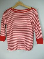 Tommy Hilfiger Women's Sz Small 3/4 Sleeve Cotton Red Striped Blouse Top