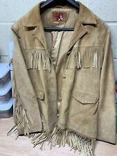 Men's Vintage Fringe Brown Suede Leather Jacket Size XXL Western Cowboy