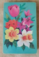 Vintage Playing Cards - Blue with Multi Color Flowers - Full Deck