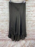 Lauren Ralph Lauren 100% Silk Brown Long Hi Low Elastic Waist Skirt Size 4