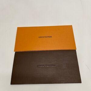 2 Authentic Louis Vuitton orange and Brown Paper Receipt Holder Envelope Folder