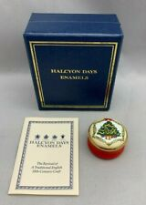 "Halcyon Days Enamels Trinket Box Christmas Tree 1.25"" Round"