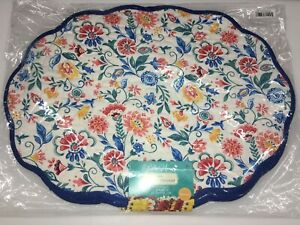 6 Pioneer Woman Mazie Quilted Placemat Food Table Reversible Blue Floral