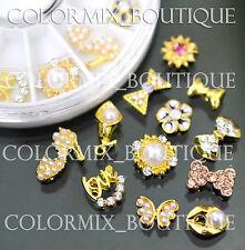 12pcs Nail Art Decoration Gold Alloy Jewelry Glitter Rhinestone+Wheel (SET NO.9)