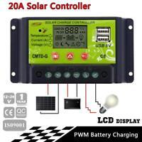 20A 12V/24V LCD Solar Energy Regulator Battery Charger Controller Dual USB 5V KS