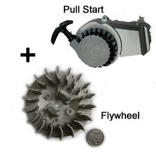Flywheel Fly Wheel + Pull Start Starter 47 49cc Pocket/Dirt/ Bike Off road Quad