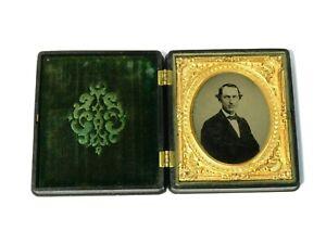 c1870 Daguerreotype Photograph of Man Gilt Frame & Thermoplastic Decorative Case