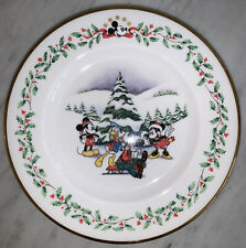 "Lenox Disney Mickey & Co. 8� Plates (4) ""First Snow� Excellent"