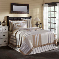 VHC Grace Quilt Farmhouse Ticking Stripe (Your Choice Size & Accessories)