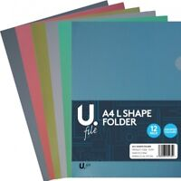 12PCS L Shape Paper File Folder Document Bag A4 Size Office & Study Supply