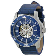 Invicta Specialty Mechanical Hand Wind Skeletal Blue Leather Mens Watch 17259