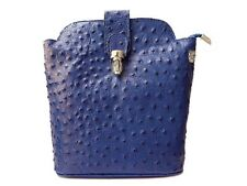Small Ostrich Italian Real Leather Crossbody Shoulder Bag Made Italy Royal Blue