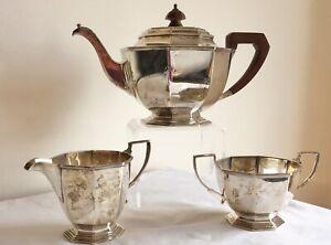 Vintage Art Deco M & W Sheffield Hallmarked Solid Silver 3 Bachelors Tea Service