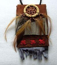 Brustbeutel braun 231 Halskette Dreamcatcher schwarz Leder Traumfänger necklace