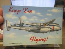 Other Old Postcard Airplane Plane Aircraft Lightning Interceptor Military Wwii