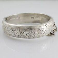 Vintage Solid Sterling Silver Engraved Bangle Bracelet Hallmarked Chester 1961