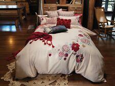 DOUBLE Linen House Kikki Quilt Cover Set 100% COTTON SATEEN Embroidery Applique