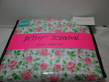 Betsey Johnson PLAID ROSES Queen Sheet Set ~ Pink Roses on Grey/Pink Plaid NEW