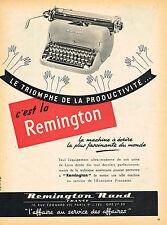 PUBLICITE ADVERTISING 025  1954  REMINGTON RAND  machine à écrire