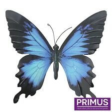 Primus Hand Finished Large Blue / Black Metal Butterfly Garden Wall Art Ornament