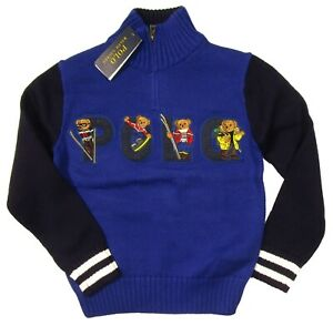 Polo Ralph Lauren Boys Blue/Navy Ski Polo Bear Graphic 1/4 Zip Pullover Sweater
