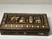 Vintage Egyptian Marquetry Inlaid Wooden Trinket Jewellery Hinged Box