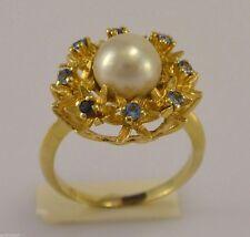 Damen-Ring mit Zuchtperle, Aquamarin / 750er 18 Karat Gold