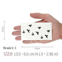 10PCS Autocollant d'art d'oiseaux de tatouage temporaire imperméable amovible