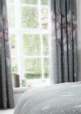 "CURTAINS 66 x 72"" grey pencil pleat tape top pink coral dream catcher feathers"